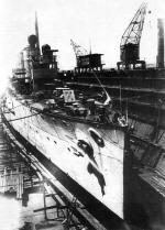 """Krążownik SMS """"Novara"""" w suchym doku w Poli, maj 1917 r."""