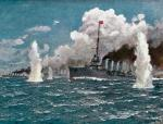 """Krążownik """"Helgoland""""  podczas bitwy w cieśninie Otranto, 1917 r., rys. J. Seits"""
