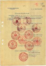 """Protokół z wzorami  pieczęci używanych przez struktury  Okręgu """"Tęcza""""  – sierpień 1948 r."""