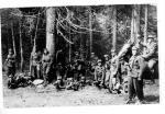 """Grupa Ochrony  Sztabu Zgrupowania """"Błyskawica"""",  oparta o drzewo  Czesława Kuraś, żona dowódcy zgrupowania (lato 1946, Kiczora  w Gorcach)"""