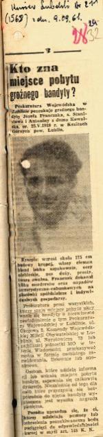 """List gończy za Józefem Franczakiem wydany przez Prokuraturę Wojewódzką w Lublinie i opublikowany w """"Kurierze Lubelskim""""  9 września 1961 r."""
