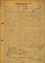 """Telefonogram informujący, że 30 września 1952 r. został rozbity patrol z oddziału Jana Turzynieckiego """"Mogiłki"""""""