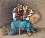 """Najnowsze ilustracje Stasysa Eidrigeviciusa, nagro- dzonego za całokształt twórczości, do książki  Joanny Papuzińskiej """"Opowieść"""""""