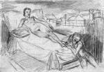 Naga kobieta leżąca na łożu z klęczącym u jej stóp mężczyzną, rys. Schulza, przed 1936 r.