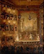 """Wnętrze Teatru Narodowego przy placu Krasińskich – premiera baletu """"Pyrrus"""" II poł. XVIII wieku"""