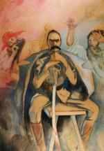 Kazimierz Sichulski, Józef Piłsudski ze Stańczykiem i Wernyhorą, 1917