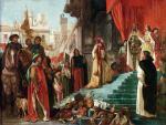 Krzysztof Kolumb przed królami Hiszpanii, Izabelą Kastylijską i Ferdynandem Aragońskim, po powrocie z wyprawy do Ameryki