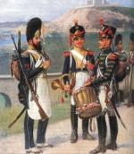 Saper Legii Nadwiślańskiej (po lewej) i żołnierze 4. Pułku Piechoty Księstwa Warszawskiego.