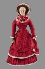 Lalka z Turyngii, oryginalna suknia, fabryka Andreasa Voita, około 1840