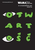 """Plakat  """"Otwartość"""" to hasło tegorocznego WAMA Film Festival  w Olsztynie"""