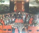 Sąd nad arianami (plafon z Pałacu Biskupów Krakowskich w Kielcach). W 1638 r. braci polskich z Rakowa oskarżono o profanację krzyża i skazano na wygnanie.