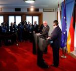Szefowie dyplomacji Polski i Niemiec na spotkaniu z prasą po rozmowach w Berlinie.
