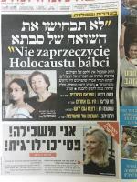 """Pierwsza strona poniedziałkowego wydania hebrajskojęzycznego dziennika """"Jedijot Ahronot"""""""