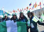Nigeryjskie bobsleistki (od lewej) Seun Adigun, Ngozi Onwumere, Akuoma Omeoga  i saneczkarka Simidele Adeagbo już zameldowały się w Pjongczangu