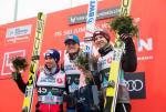 Najlepsi w konkursie w Oslo. Od lewej Stefan Kraft (drugi), zwycięzca Daniel Andre Tande i Michael Hayboeck (trzeci).