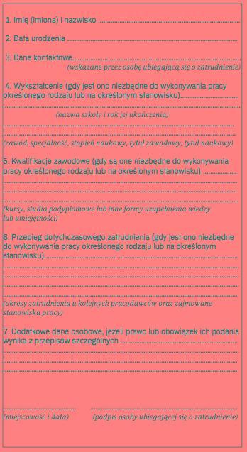 1cc045c746e082 Wzór 1 Kwestionariusz osobowy dla osoby ubiegającej się o zatrudnienie