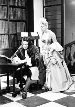 """Jacek Woszczerowicz i Kalina Jędrusik w sztuce """"Złote czasy zacnego króla Karola"""". Teatr Narodowy, styczeń 1957 r."""