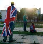 Przeciwko polityce Borisa Johnsona prostestowano podczas jego sierpniowej wizyty w Berlinie