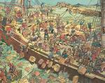 Rysunek przedstawiający wydarzenia z 16 grudnia 1773 r. w Bostonie: przebrani za Indian koloniści zrzucają skrzynie z herbatą do morza