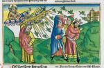 Szarańcza na przedstawiającej jedną z plag egipskich ilustracji z niemieckiego, XV-wiecznego manuskryptu