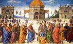 """""""Jezus przekazuje Piotrowi klucze do królestwa niebieskiego"""" – fresk  z Kaplicy Sykstyńskiej pędzla Pietra Perugino"""