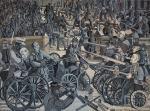 """Edward Dwurnik, """"Wszyscy przeciw wszystkim""""  z cyklu """"Namiętności"""", 1969, olej CSW ToruŃ,"""