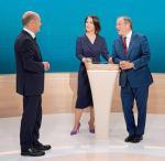 12 września. Telewizyjna debata kandydatów na kanclerza. Od lewej: Olaf Scholz (SPD),  Annalena Baerbock (Zieloni), Armin Laschet (CDU)