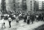 Ulica szczecińska podczas strajku pracowników komunikacji miejskiej i portowców Szczecina