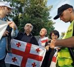 Polacy i Gruzini pikietowali pod ambasadą przy ul. Wąchockiej