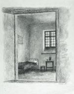 """Felicjan Kowarski, """"Wnętrze celi Piłsudskiego w Cytadeli"""", rysunek tuszem"""
