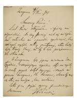 List Piłsudskiego z 27 września 1901 r. pisany podczas rekonwalescencji w Zakopanem