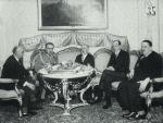 Wizyta Louisa Barthou, ministra spraw zagranicznych Francji, w Polsce, 22 – 23 kwietnia 1934 rok. Pierwszy z lewej amb. Leon Noel, obok Marszałka Barthou, na prawo Józef Beck i Jan Szembek