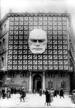 Plakat propagandowy na rzymskim pałacu, 1934 r.