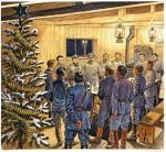 Wigilia w Legionowie, zbudowanym przez żołnierzy Komendanta na froncie wołyńskim w 1915 roku. Choinkę przybrano wtedy pociskami i gilzami po nabojach