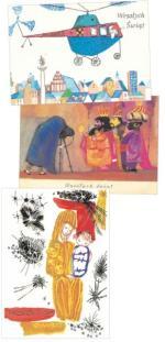 Świąteczne kartki projektowali znani plastycy. U góry helikopter Marii Heidrich i trzej królowie Leonii Janeckiej. Obok Maryja z Dzieciątkiem Wiesławy Grosset