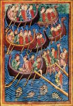 Wikingowie z Danii płyną ku brzegom Brytanii, miniatura, X w.