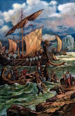 Wikingowie lądują na wybrzeżu Normandii, rycina, XIX w.