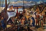 Wikińscy kupcy wyładowują towary w porcie, rysunek, XIX w.