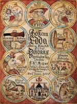 """Strona tytułowa islandzkiego zbioru pieśni """"Edda"""", 1660 r."""