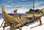 Budowa wikińskiego snekkara (sneki), rysunek współczesny