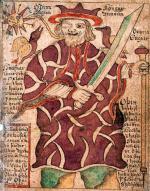 """Odyn – najważniejszy bóg nordycki, rycina z """"Edddy"""", 166o r."""