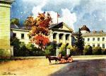 Budynek Ossolineum na pocztówce sprzed I wojny światowej