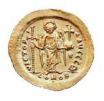 Złota moneta wybita w Konstantynopolu