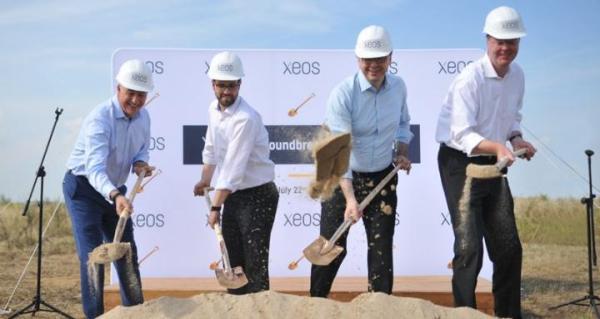 Pierwsza łopata wbita w końcu lipca: od lewej: Mike Ward, Florian Huebener – dyrektorzy Budowy, Stefan Schmuck, Tomas Boettger – Zarząd XEOS.