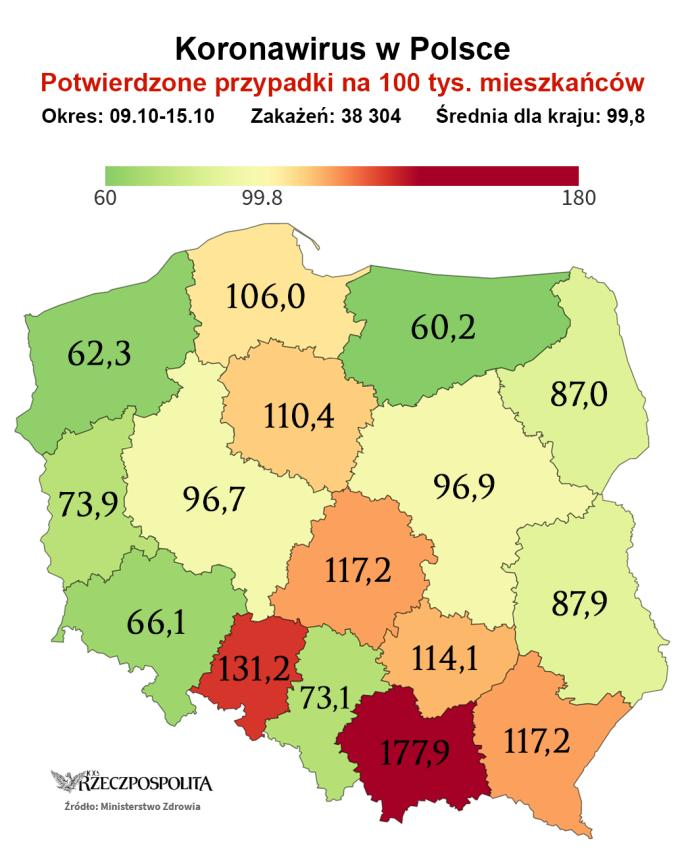 Potwierdzone przypadki koronawirusa w Polsce na 100 tys. mieszkańców w okresie od 9 do 15 października