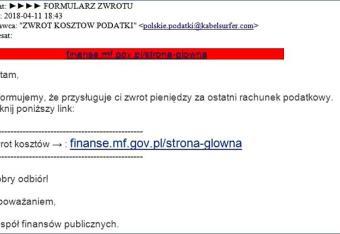 Fałszywe maile o zwrocie podatku