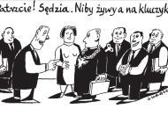 Andrzej Krauze: Patrzcie! Sędzia. Niby żywy a na kluczyk!