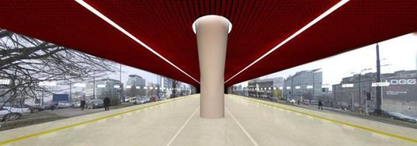Czerwona stacja Rondo Daszyńskiego jest jak wszystkie inne pod ziemią. Wyświetlony na ścianach obraz z kamer umieszczonych na ulicy daje wrażenie, jakby pasażerowie znajdowali się tylko pod dachem na świeżym powietrzu.