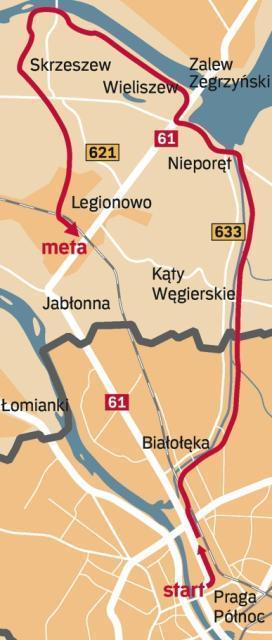 Trasa 2: Rondo Starzyńskiego – Jezioro Zegrzyńskie – Dębe – PKP Legionowo (45 km): z ronda Starzyńskiego, wiaduktem kolejowym przez ulicę Golędzinowską, wzdłuż Kanału Królewskiego dotrzemy do Nieporętu. Zielonym szlakiem rowerowym, wałem nad Narwią dojedziemy także do zapory wodnej w Dębem. Stąd już tylko 14 km do Legionowa.