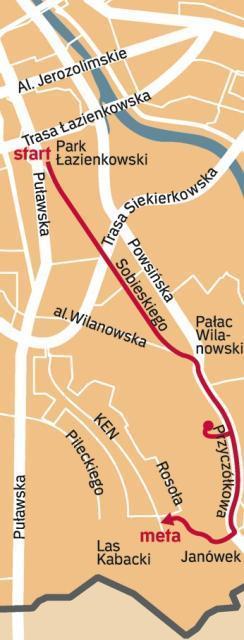 Łazienki – Powsin – Metro Kabaty (15 km): Z rodzinnych Łazienek przez Al. Ujazdowskie, Belwederską, Sobieskiego, mijając Morskie Oko i al. Wilanowską docieramy do Wilanowa. Stąd przez Nowoursynowską i Wąwozową trafimy już do lasku Kabackiego.